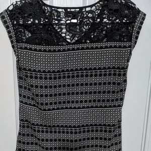 Express, Black and White V-neck Blouse with Lace